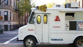 Icecream truck on city street