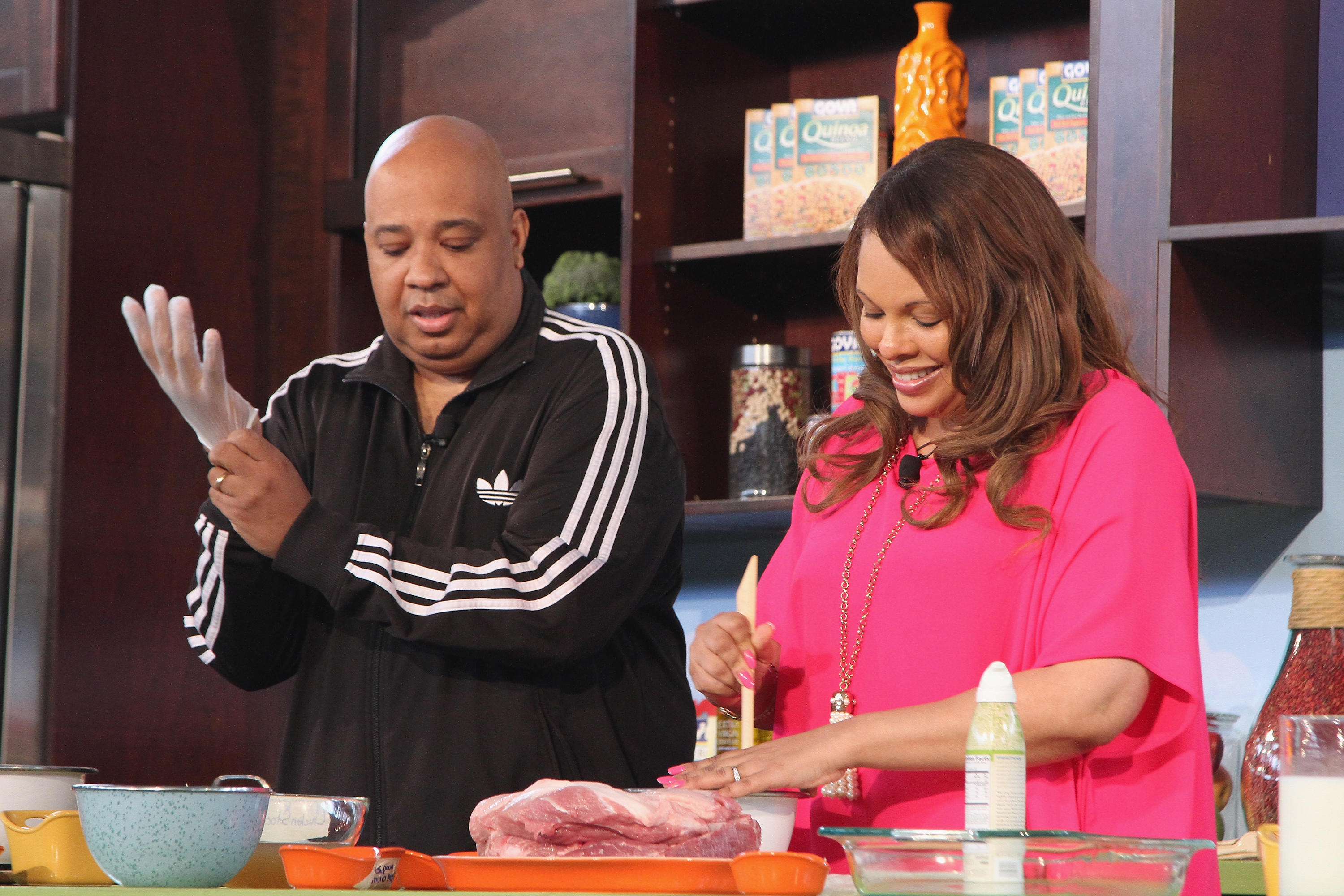 Rev Run and Justine Simmons cook at Fun And Fit As A Family