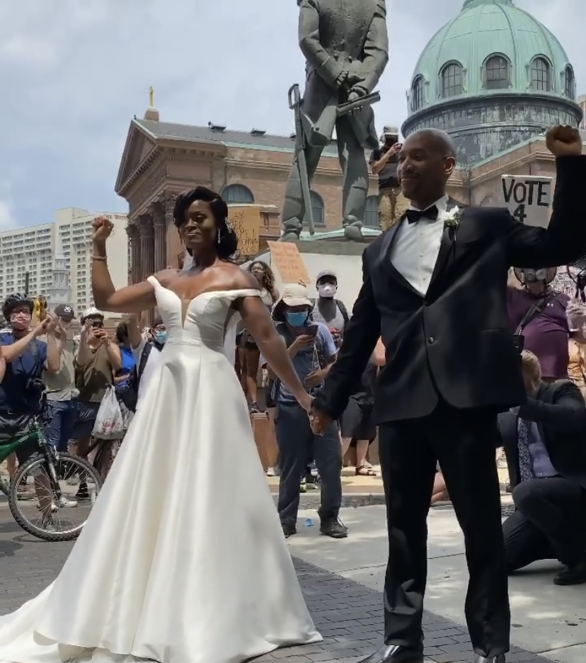 Philly Newly Weds Celebrate Marriage At Protest